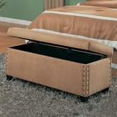 Found It At Wayfair   Brighton Microfiber Bedroom Bench With Storage And  Pin Trim In Tan