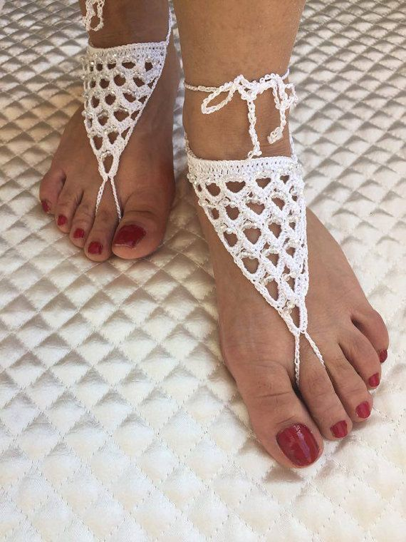 Crochet white barefoot sandals Barefoot sandals by PinarKnitting
