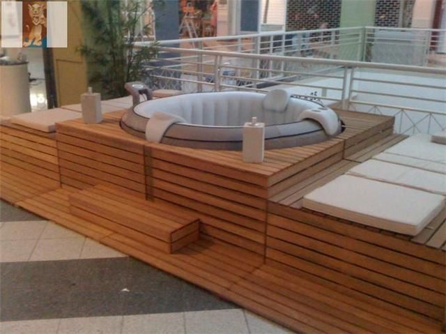 Habillage de jacuzzi gonflable recherche google spa pinterest hot tub - Spa gonflable interieur ...
