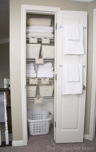 Guest room closet- like the idea of a laundry basket in there for guests to put…