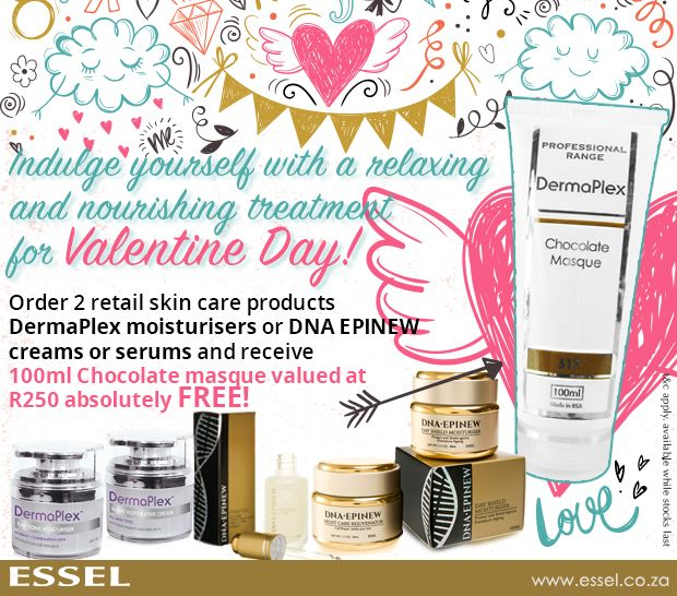 Free gift valued at R250 for Valentines Day. Order 2 retail skin care products and get a 100ml Chocolate masque Free!