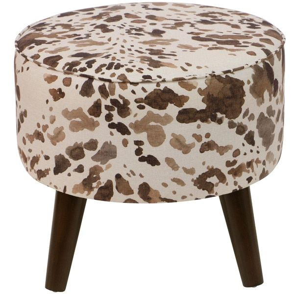 Skyline Furniture Brown Cowhide Print Fabric Ottoman