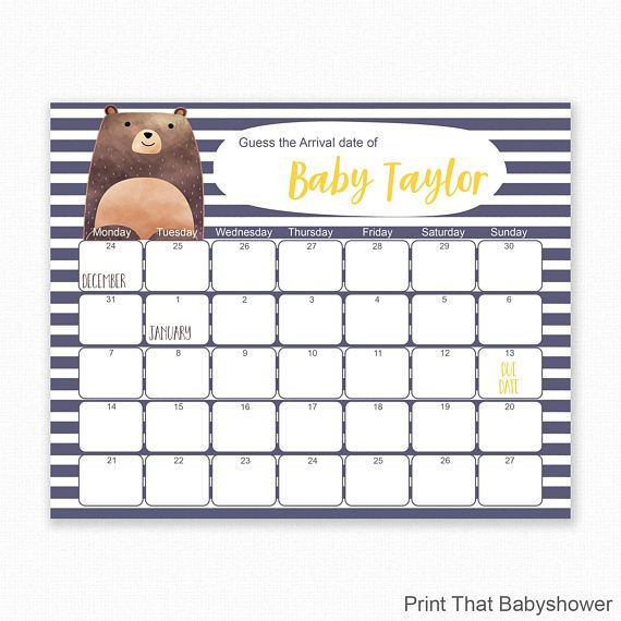 Woodland Baby Shower  Guess The Due Date Baby Shower Games