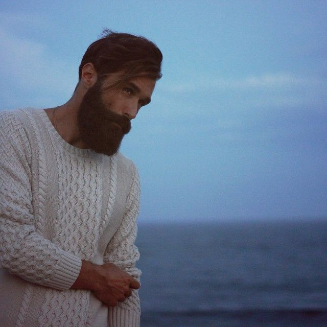 Luke Ditella at sea in a sweater - autumn beach fall style mens' full thick dark beard beards bushy perfect handsome bearding