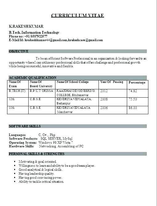 Fresher Resume Format Resume For Freshers Resume Format Fresher Resume Freshers Format Downloa Best Resume Format Resume Format For Freshers Engineering Resume
