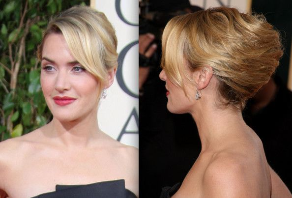 french twist w/ bangs (add a light, loose curl and a flower and this is my up-do!)
