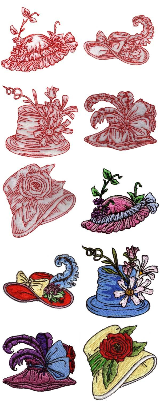 Victorian Hats Embroidery Machine Design Details