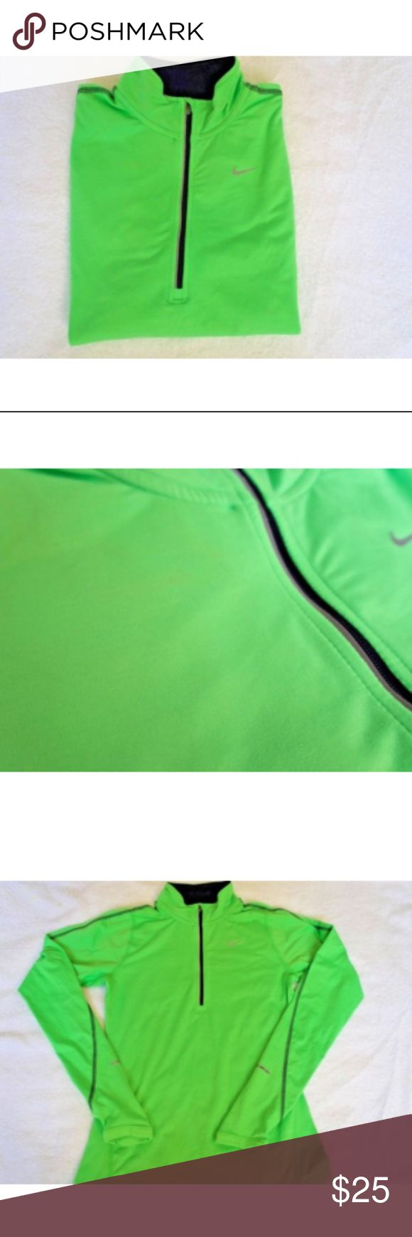 Nike Women's Lime Green Quarter Zip Pullover Size XS Has a small stain by the zipper.  Please see photos. Nike Tops Sweatshirts & Hoodies