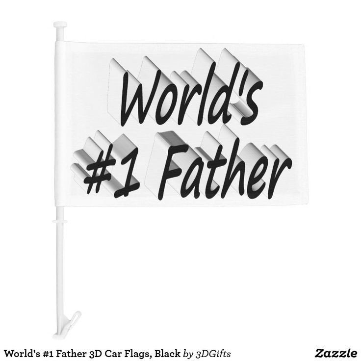 World's #1 Father 3D Car Flags, Black Car Flag