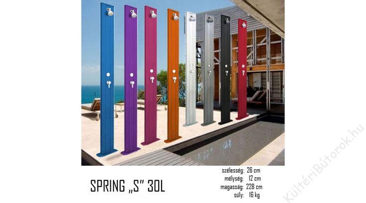 Stílus és elegancia megfizethető áron? Lehetséges! :D  188 Spring A200 kerti zuhany  Az A200-as alapmodell 25l víz tárolására képes, melyet a nap melegít fel. Zuhanyzásnál a hideg és meleg víz keverési aránya csappal állítható. A zuhany szilárd felülethez rögzíthető (beton). Választható színek:  alapszínek: lila, kék, zöld, piros, narancs, pink, antracit, speciális szín: antracit és inox bi color Más alapszínekben és egyedi színekben is rendelhető!