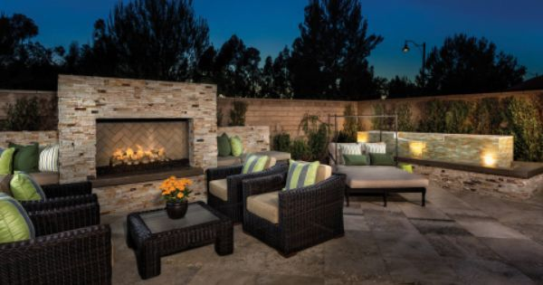 Beautiful backyard at KB Home's Vicenza community in Orange County #outdoorliving #outdoorfireplace #patio #californiadreaming | Home and Garden | Pinterest | …