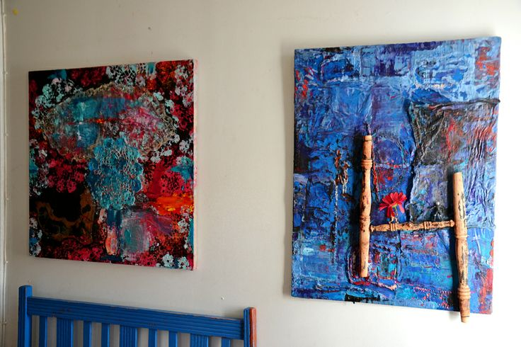 The Lace Girl & The Golden Ratio (at chair) 2014 & 2012 oil/textilepainting - assemblage