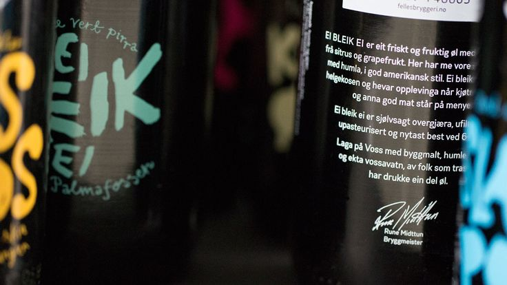 Visual identity and packaging design for a craft brewery in Voss, Western Norway. Local language expressed through handwritten type on black stubby bottles is at the core of the identity.