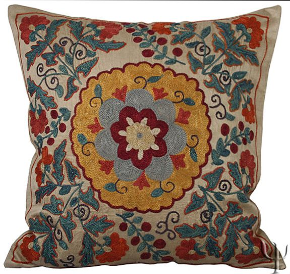 Silk Suzani Pillow Cover All sorts of ME/Turkish home goods