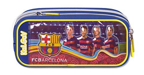 Special Offer Official Licensed Pemium GENUINE FC Barcelona Enhancing W/TEAM PLAYER IMAGES & Pencil Case / Pen Pouch DOUBLE FILL (2 Pockets) !! - Licensed FC Barcelona Merchandise