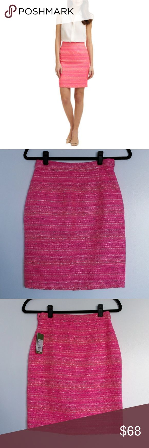 Lilly Pulitzer Gerbera Neon Pink Pencil Skirt NWT Calling all pink lovers! This skirt is a vibrant shade of pink boucle with shades of coral, white and metallic thread woven throughout. Side zip and hook and eye closure. Fully lined in pink. Back slit (still sewn shut). Sorry, no trades. Lilly Pulitzer Skirts Pencil