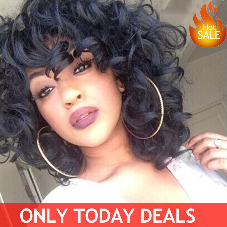 Hot Curly Synthetic Wigs For Black Women Short Black Wigs With Bangs African American Peruca Sintetica Natural Cheap Hair Wig