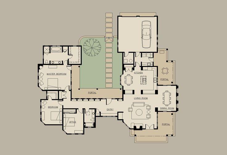 Les 102 meilleures images à propos de Casas sur Pinterest Plans de - plan maison en forme de u