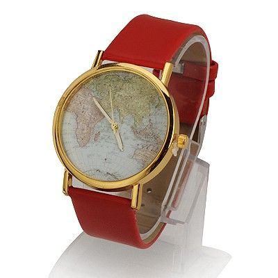 Imitation Red World Map Pattern Design Alloy Fashion #Watches  US$ 2.00   www.asujewelry.com