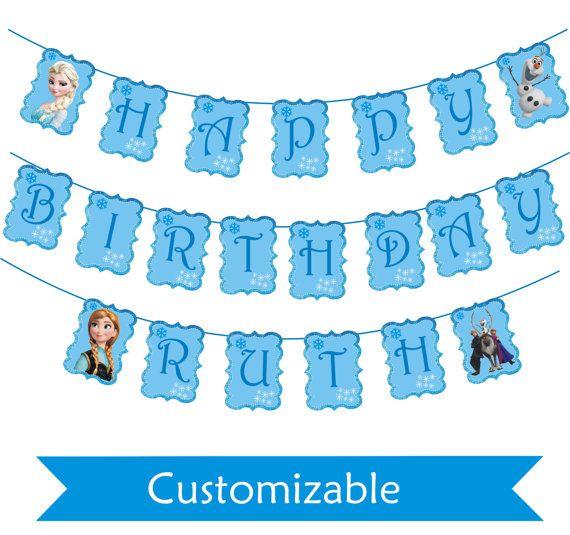 Frozen Birthday Banner Printable Frozen Banner Party By: Printable Frozen Banner -Party Banner