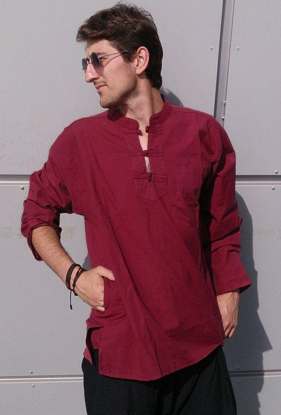 Men's long sleeve style shirt - Ethnic Kurta Hippie Grandad Plain Ethnic wear