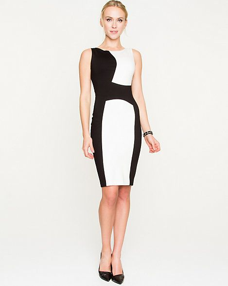 A modern colour-block design is a flattering and stylish complement to your figure. #madeincanada