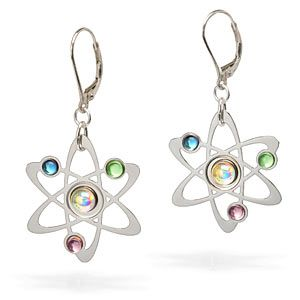 ThinkGeek :: Rutherford-Bohr Model Atom Earrings  The nucleus and orbiting electrons are holographic clear, peridot, amethyst, and holographic turquoise