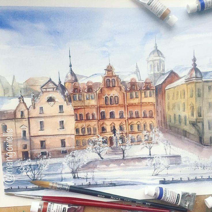 Снежный Выборг ❄️  Winter watercolor landscape of Snowy Vyborg, a town located not far from Saint Petersburg.