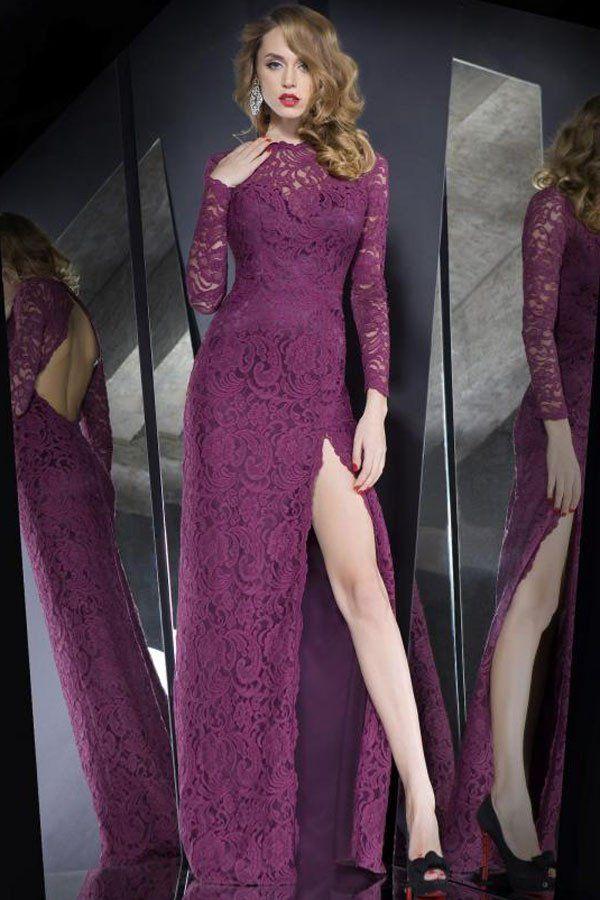 Robes Longues Haut Slit Dentelle Superposee evider Violet Robe #robedentelle – Modebuy.com