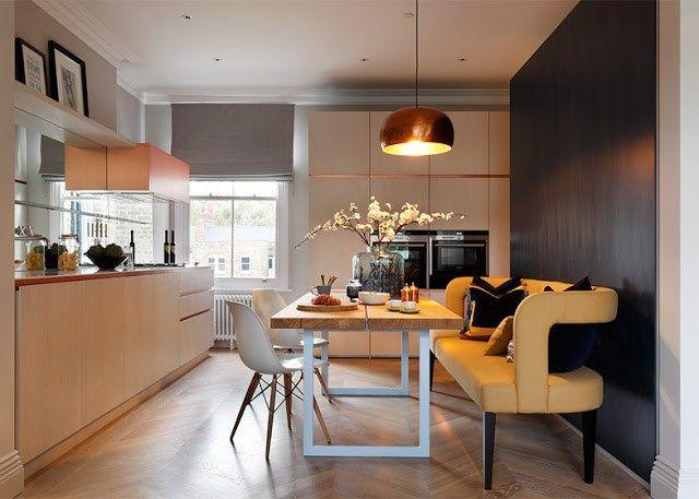 rivestimenti in marmo e rame per appartamento a londra di mwai studio