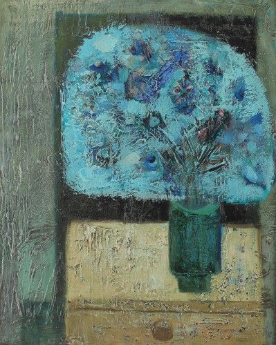 Still life in blue SEVER FRENŢIU 1931, Săcuieni, Bihor - 1997, Arad oil on canvas, 49,5 × 40,5 cm Valoare estimativă: € 2.000 - 3.500  Conservation status: for further technical details, do not hesitate to contact loredana.codau@artmark.ro