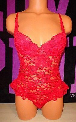 Victorias-Secret-Teddy-One-Peice-Lingerie-36B-Red-Lace
