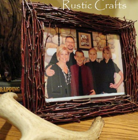 Picture frames decorated with twigs