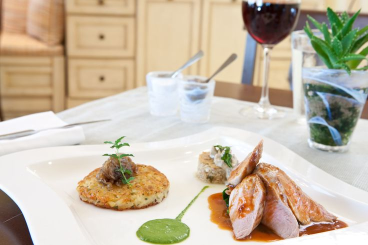 veal fillet/mushroom pave/potato rosti/sweet onions/spinach