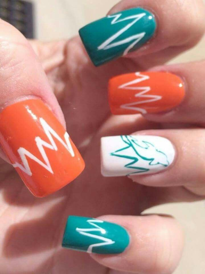 25 best miami dolphins nail design images on pinterest art ideas fabulous colors prinsesfo Images