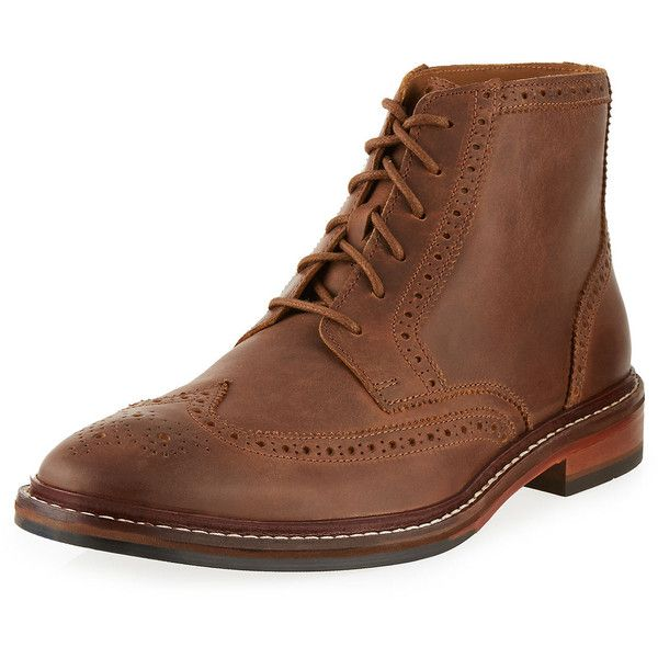 Cole Haan Williams Welt Boot ($113) ❤ liked on Polyvore featuring men's fashion, men's shoes, men's boots, mens leather shoes, mens lace up shoes, mens wingtip shoes, cole haan mens shoes and mens wingtip boots