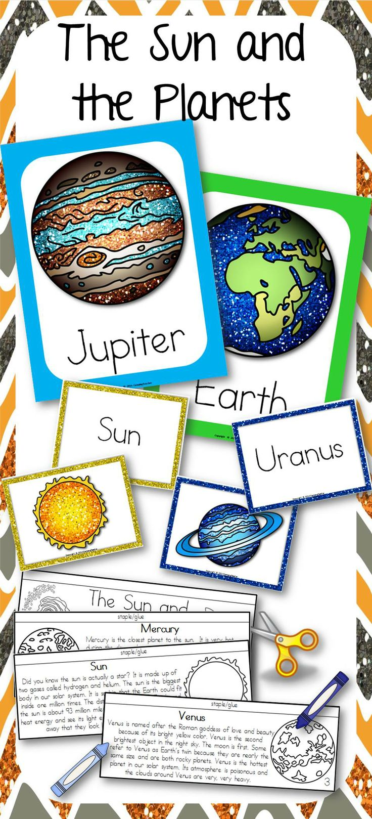 The Sun and the Planets - Science posters, matching center cards, and flip book.