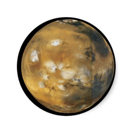 Mars!  A beautiful image from space.  NASA Round Sticker