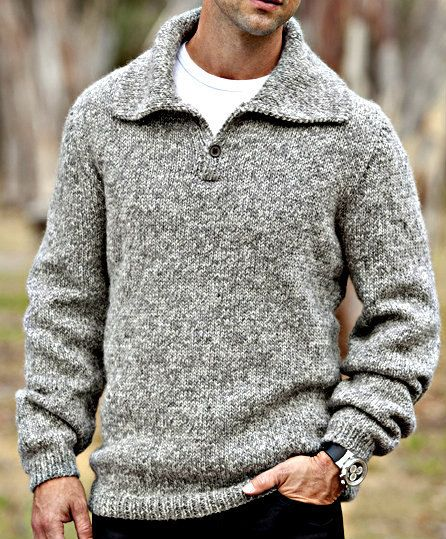 Hand Knit Mens Collared Wool Pullover Sweater Custom Made To