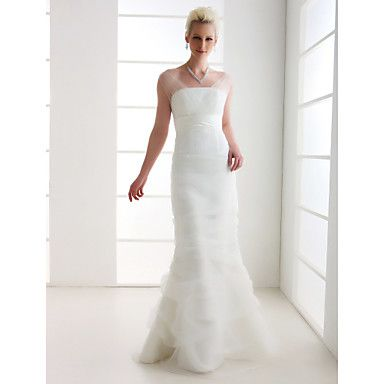 Trumpet/Mermaid Off-the-shoulder Floor-length Tulle Wedding Dress  – USD $ 197.99 Love the sheer tulle overlay...