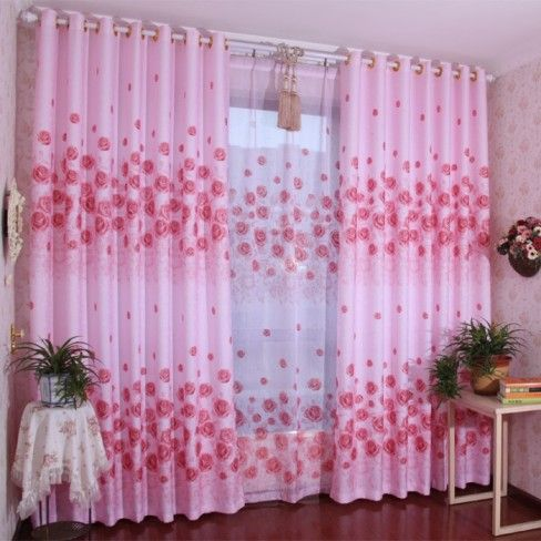 Flower and Pink Bedroom Curtains for Girl