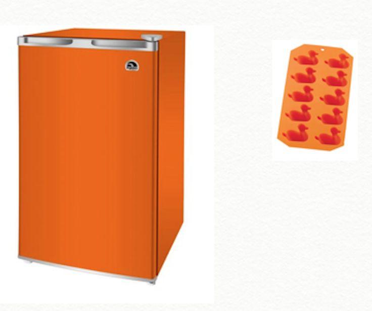 Small Refrigerator With Freezer For Dorm Garage Orange BONUS GIFT Silicone Tray  #Igloo