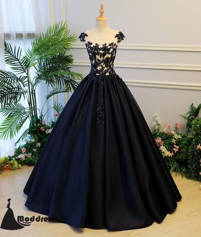 bc97191a259 Black Long Prom Dress Applique Satin Ball Gowns Scoop Evening Dress ...