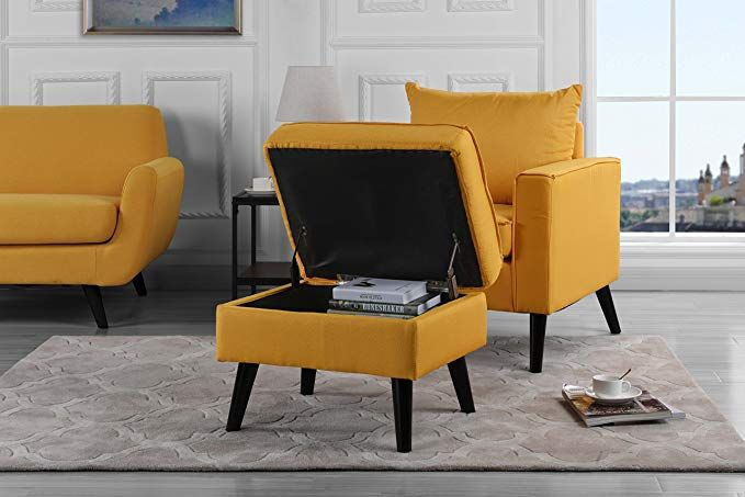 mid century modern living room large accent chair with footrest rh pinterest com