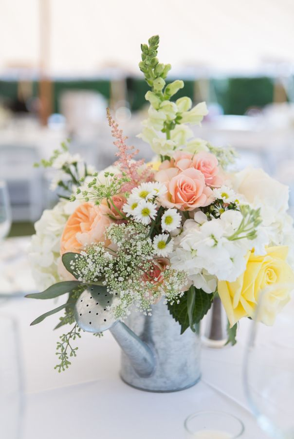 Classic summer waterfront wedding floral centerpieces