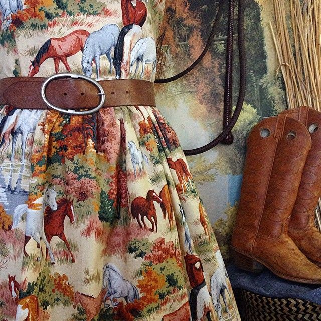 Yeehaa!!! One of a kind horse frock underway. I feel like I should've had some country tunes playing while I sewed this.  { Gertrude Made } #comingsoon #toasaloonnearyou #Yeehaa #countrygirl #countrystyle #horses #vintagefabric #dressmaking #neigh #wildandfree #cowgirl #ooakdress  www.gertrudemade.com