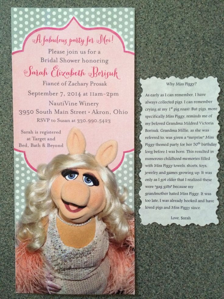 bridal shower keepsake book%0A Miss piggy themed bridal shower invitations