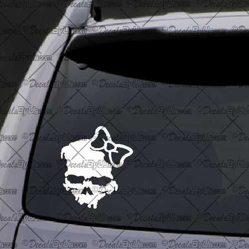 Zombie Girl Skull Decal – Decal - Car Window Decal - Sticker – White