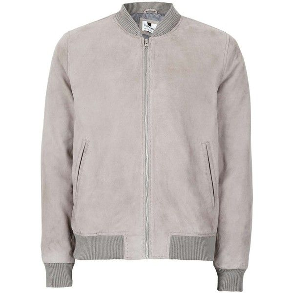 TOPMAN Grey Suede Bomber Jacket (3,520 MXN) ❤ liked on Polyvore featuring men's fashion, men's clothing, men's outerwear, men's jackets, grey, mens suede leather jacket, mens suede jacket, mens quilted jacket, mens grey jacket and mens suede bomber jacket