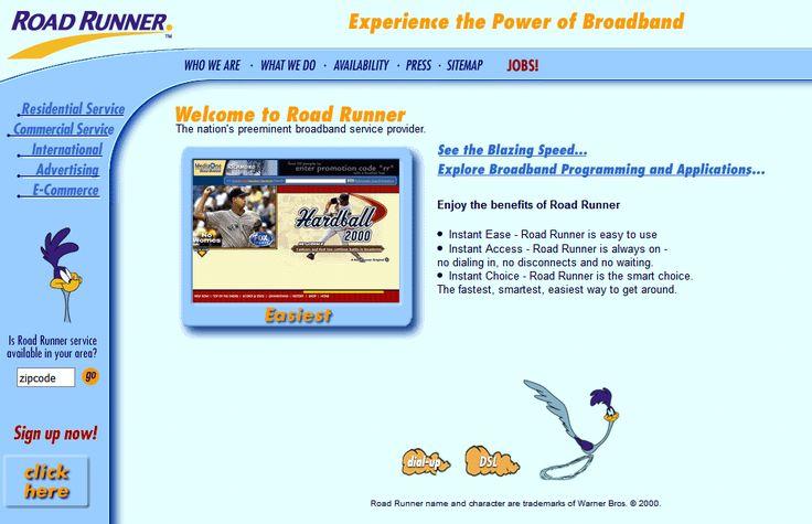 Road runner website in 2000